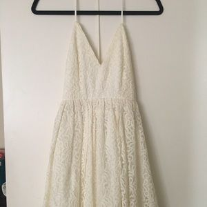 Backless white lace cocktail dress
